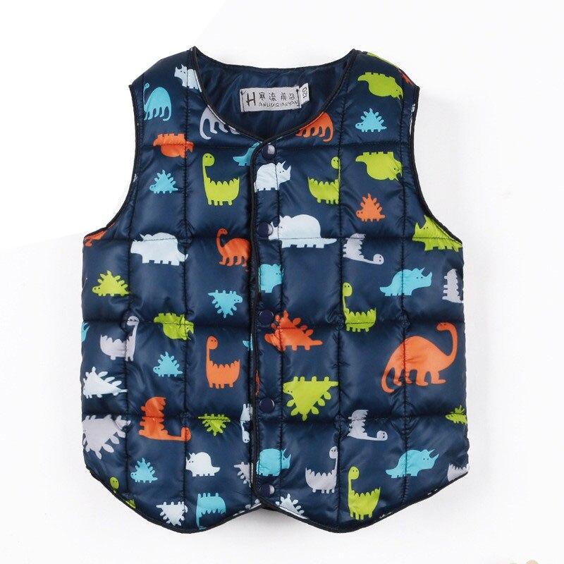 Children Vest Dinosaur Winter Vest Waistcoat for Children Sleeveless Jacket Down Cotton Baby Girls Winter Vest Kids Outwear