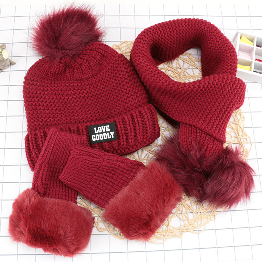 3Pc Female Scarf And Hat Gloves Set Winter Wool Knit Warm Plus Velvet Padded Earmuffs For Children Boys Girls Fashion Casual