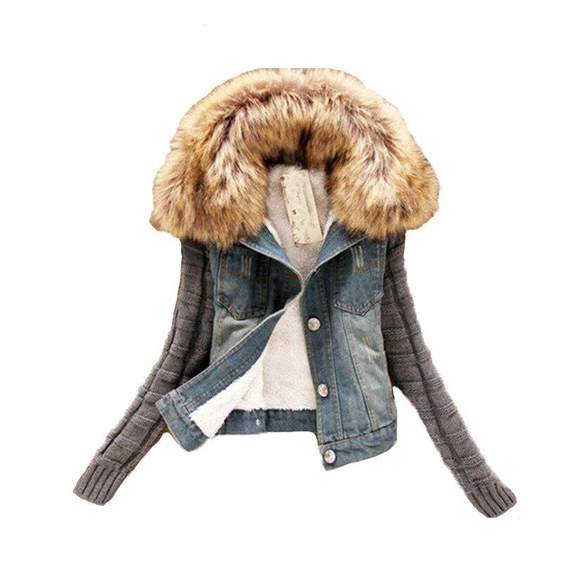 Pour Jeans Automne 5xl Jean Printemps De Vestes La Fourrure Bleu Femmes S En 2018 Plus Hiver Veste Mince Denim Survêtement Taille Manteau vYa5dUqw