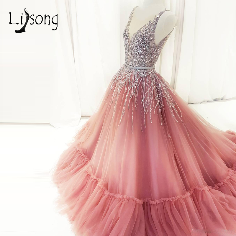 Pretty Blush Pink Long   Prom     Dresses   2018 Arabic Beaded Crystal Tulle   Prom   Gowns Deep V-neck Ruffles Formal   Dress   Abendkleider