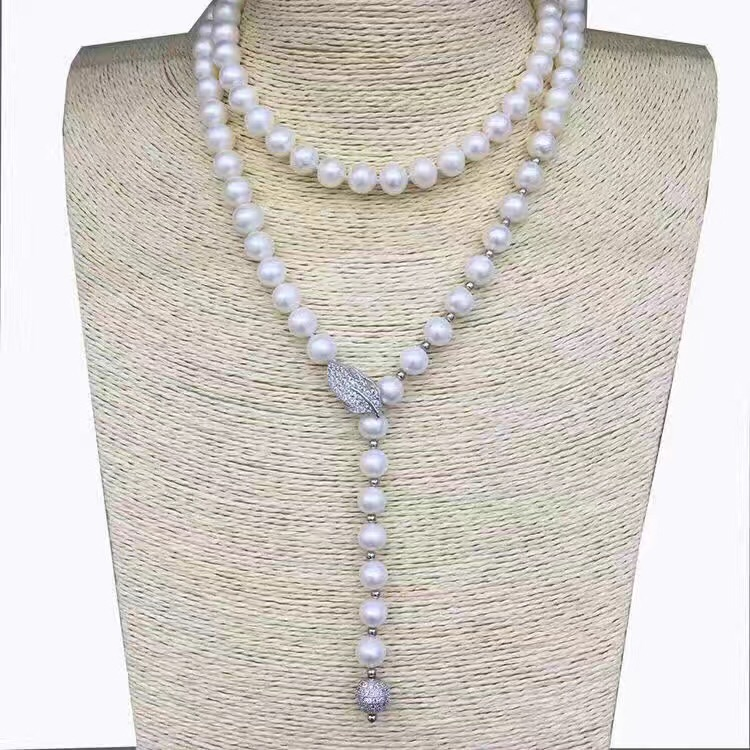 LJHMY Natural White Freshwater Pearls Long Necklace Sweater Chain faux pearls long chain earrings