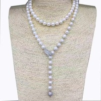 LJHMY Natural White Freshwater Pearls Long Necklace Sweater Chain