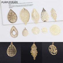 DIY ear jewelry accessories copper plated earrings pendant material 18k real gold water drops leaves round Mori retro 4 pieces