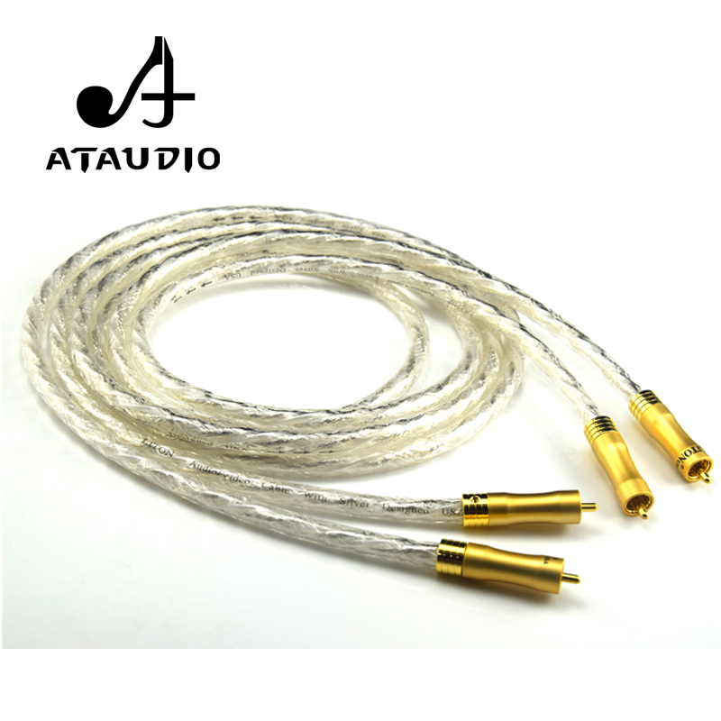 ATAUDIO Silver plated Hifi 2 RCA Cable High Quality Liton RCA Male to Male DVD Amplifier