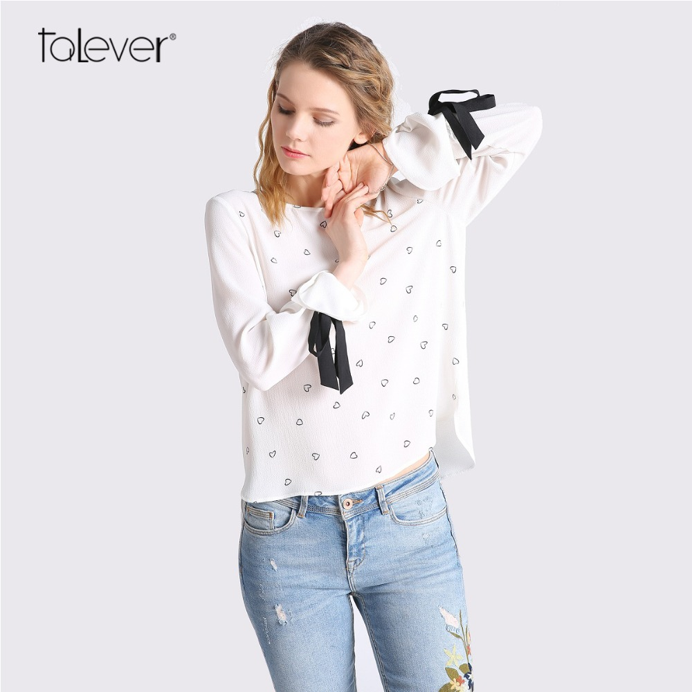 White Chiffon Blouse With Black Bow