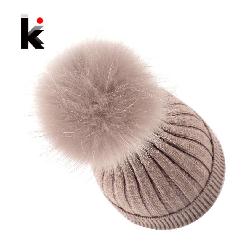 Fur Pompom Ladies Knit Wool Winter Women Hat Beanie Bonnet Knitted Skullies Harajuku Winter Cap Female Hats For Women Beanies autumn winter beanie fur hat knitted wool cap with silver fox fur pompom skullies caps ladies knit winter hats for women beanies