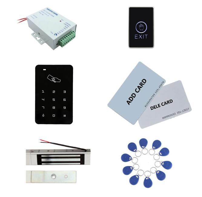 Access control kit,standalone access control+ power+180kg magnetic lock+exit button+2pcs manage card, 10 keyfob ID tags,sn:set-3 door access control with led keypad standalone card access control reader with magnetic lock power supply exit button m07 k kit