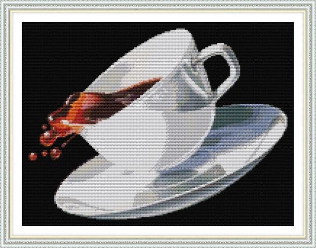 Kaffeetasse kreuzstich kit getränke Aida zählen 18ct 14ct 11ct druck ...