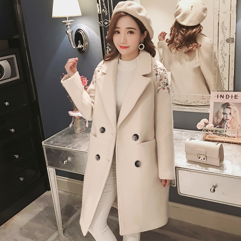 Femme Femelle Rétro De En coat Coréen rose Style Fleur Hiver Laine Femmes Beige Automne Combinaison Lâche Manteau Trench bleu Col Pour Brodée YCUYOwxBnq