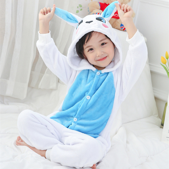 New Warm Flannel fleece Sleepwear Cute Rabbit Loose Pajamas Onesies Girl  New Year Winter Soft Jumpsuit Hare Costume Kid Cosplay 4965a80ce