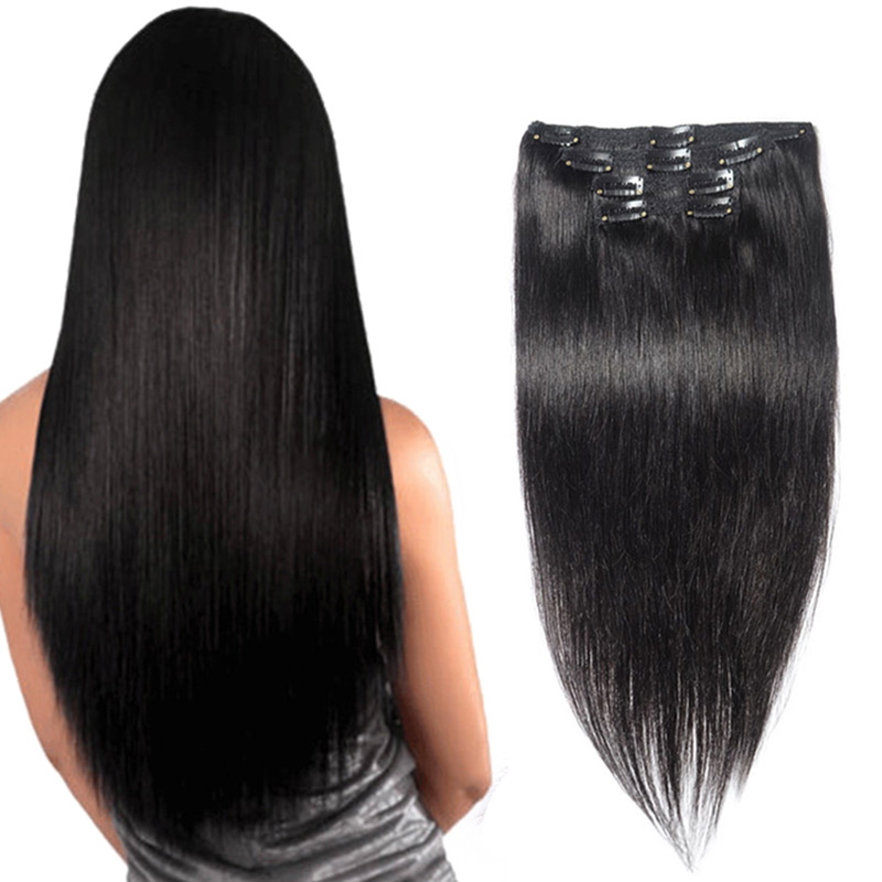 20″ 10PCS 120G Clip In Human Hair Straight Virgin Hair Clip In Hair Extensions Full Head Clip In Human Hair Extensions Black #1B