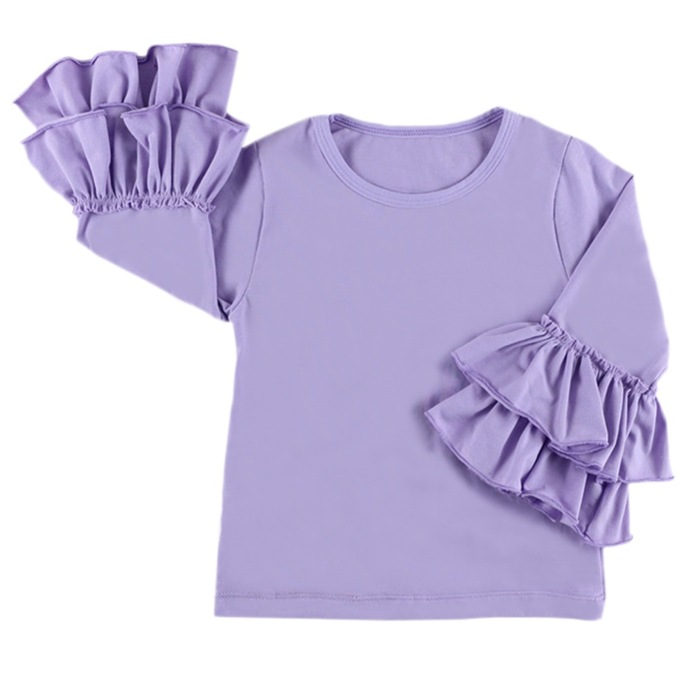 Tops T-Shirt Long-Sleeve Icing Ruffle Toddler Girl Double-Layered Kids Baby Cotton Casual