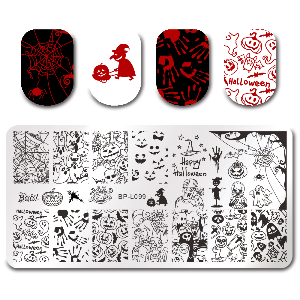 BORN PRETTY Square Round Rectangle Stamping Template Halloween ...