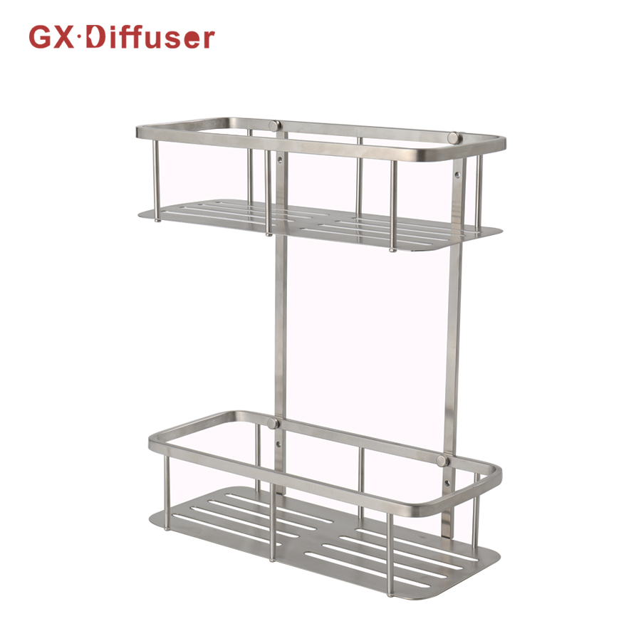 GX Diffuser Bathroom Rack Shower Shampoo Holder Bath Shelves Storage Stainless Steel Corner Storage Holder Accessories black bathroom shelves stainless steel 2 tier square shelf shower caddy storage shampoo basket kitchen corner shampoo holder