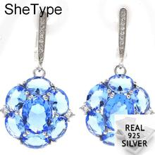 Elegant 7.03g Violet Tanzanite Golden Citrine White CZ Gift For Womans 925 Solid Sterling Silver Earrings 36x28mm