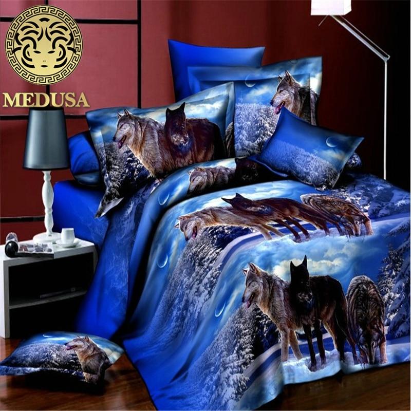 home textile reactive 3d wolf queen size bedding set of duvet doona cover bed sheet pillow