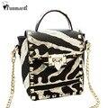 Новое прибытие Ретро Заклепки дизайн PU кожаные сумки Леопарда цепи мешок все матч женщины сумка почтальона сумочки Мода кожаная сумка WLHB1389