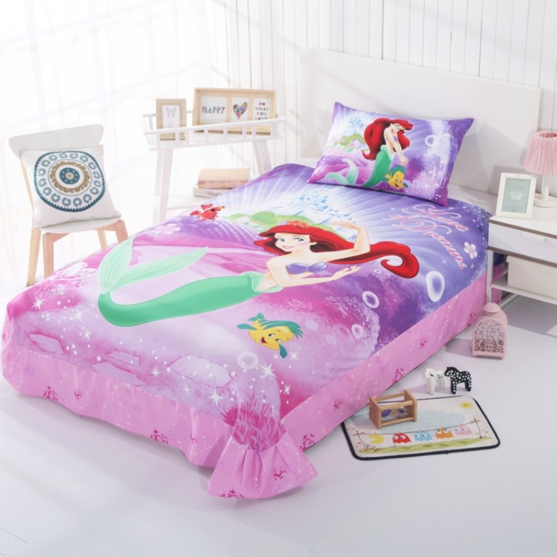 Cartoon Mermaid Ariel Princess Duvet Cover Set for Girls 100 Cotton Bedlinen Twin Single Bedclothes for