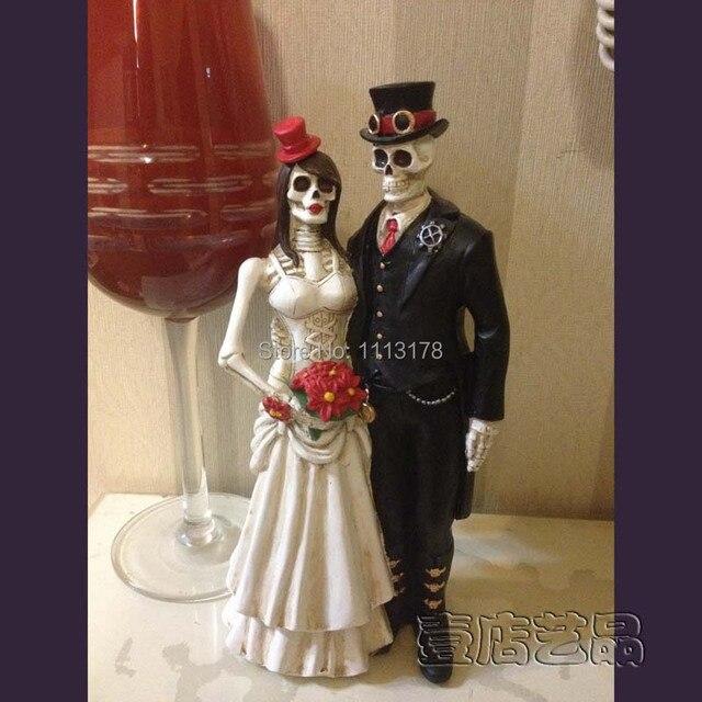 Cheap Horrible Wedding Cake Topper Halloween Skull bride and ...