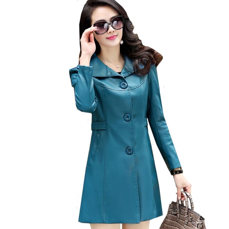 Fashion Windproof Rainproof Women PU   Leather   Jacket Coat plus size 6XL Black Slim Long Faux   Leather   Jackets Female Windbreaker