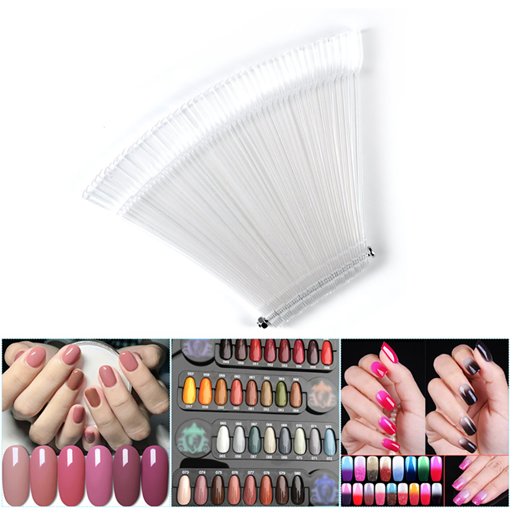 50PCSTransparent Nail Swatches Sticks Fan-shaped Nail Art Tips Nail Polish Display Board Practice Sticks With Metal Screw Holder
