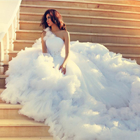 Wedding Dress 2017 Romantic One Shoulder Wedding Gowns With Long Tail Robe De Mariee A Line