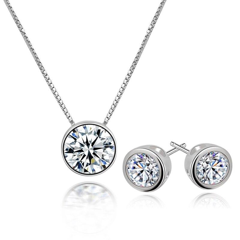 L & P 925 ensembles de bijoux en argent Sterling pour les femmes, collier pendentifs boucles d'oreilles bijoux fins de haute qualité CZ chaud 2017