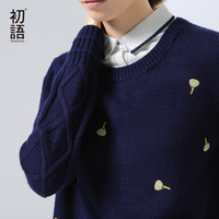 Toyouth New Arrival Acrylic Casual Pullovers Sweaters Autumn Embroidered Patchwork Turn Down Collar Sweaters