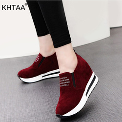 KHTAA Flock Lady Sneakers Casual Black/Red Low Heels Women Sneakers Platform Shoes Height Increasing Shoes Drop Shopping 2018