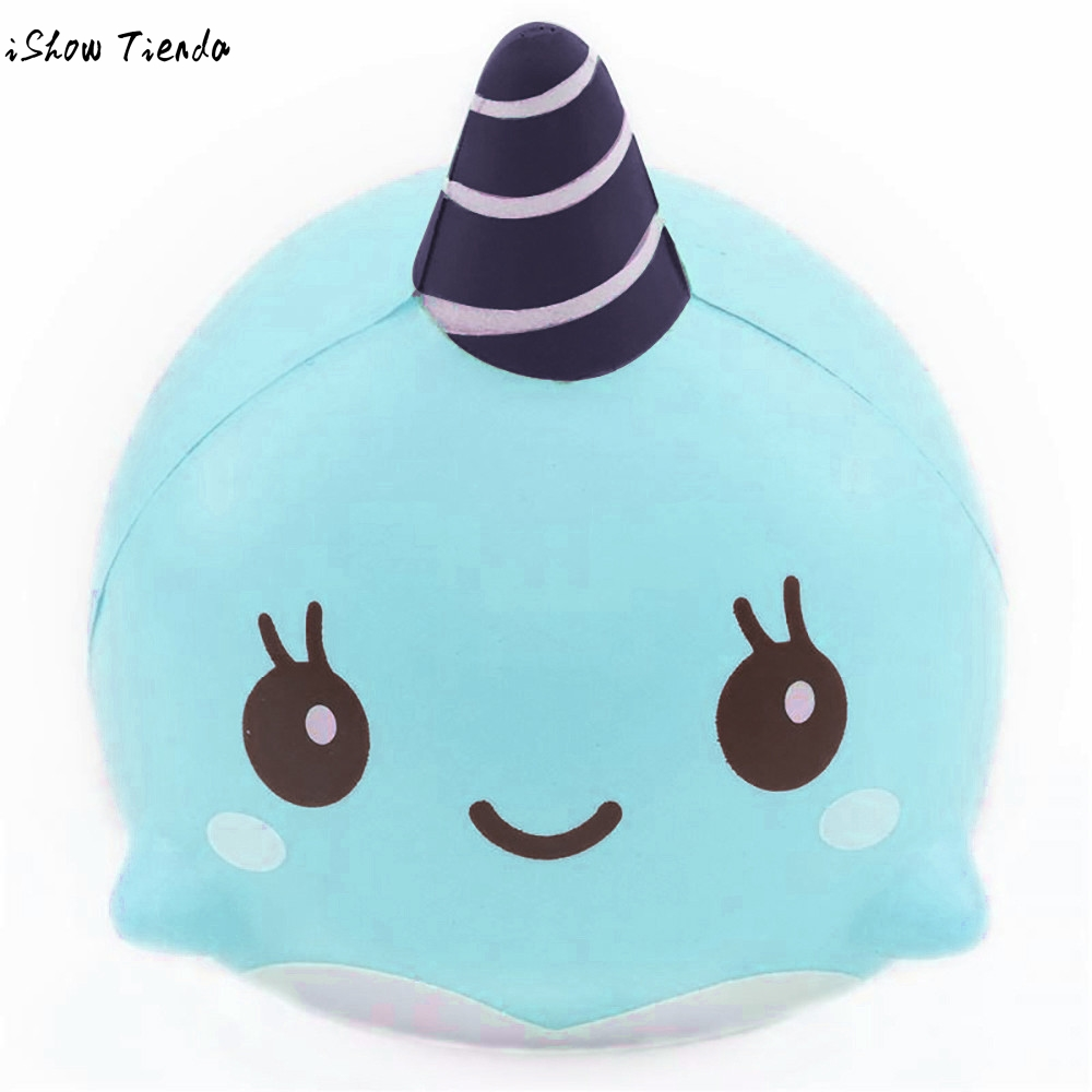 9CM Toys Mochi Squishy Soft PU Whale Cartoon Squishy Slow Rising Squeeze Toy gags practical jokes prank gift #7815