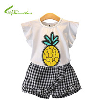 Meisjes Kleding Sets 2018 Zomer O-hals Mouwloze Meisje Ananas Tops T-shirt + Broek 2 Stks Kinderkleding Kinderkleding Sets