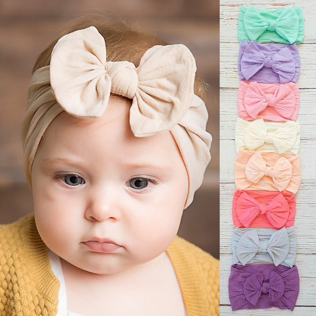 Hot Sale Cute Toddler Infant Baby Boys Girls Bowknot Headband Hairband Headwear Accessories Solid Bandeau Bebe Serre Tete Bebe