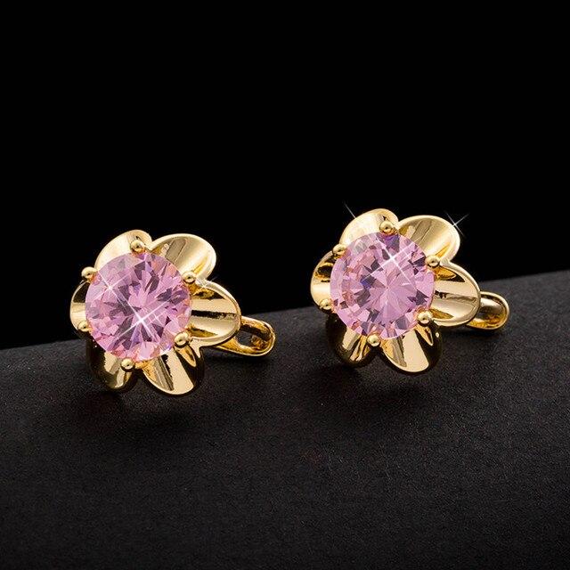 Lovely sunflower pink crystal hoop earrings  yellow gold filled girls zircon huggie earrings children jewelry