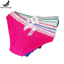 Prettywowgo Wholesale New 2017 Lovely Dot Print Womens Briefs Cotton Panties 6815