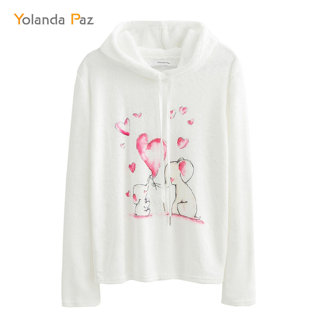 c4cdb23f1b678c Yolanda Paz Autumn Winter Casual Long Sleeve Women Hoody Cute elephant and  elephant Printing Hoodies Sweatshirt Fashion Pullover