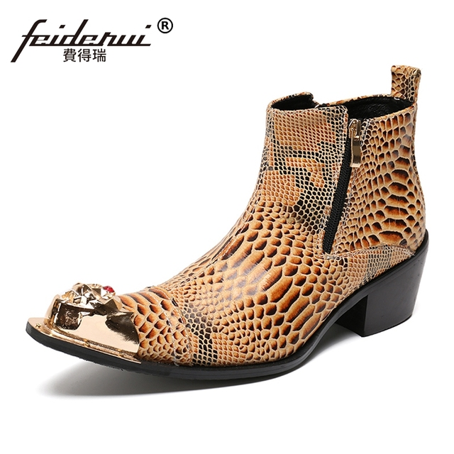 e7b7668b00b Plus Size Yellow Alligator Man Handmade Pointed Toe Cowboy Riding Shoes  Genuine Leather High Heels Men s Ankle Boots SL171