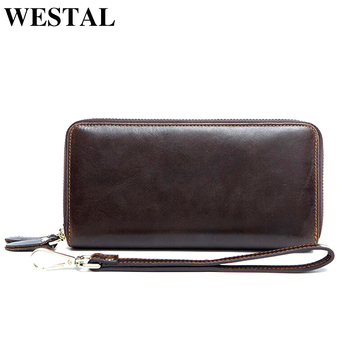 WESTAL Wallet Male Genuine Leather Coin Purse Men zipper Credit Holder partmone Long clutch Male genuine leather men's wallets