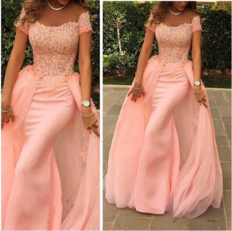Saudi Arabic Pink Mermaid Evening Gown Sexy Off The Shoulder Short Sleeve Lace Prom Robe De Soiree Mother Of The Bride Dresses