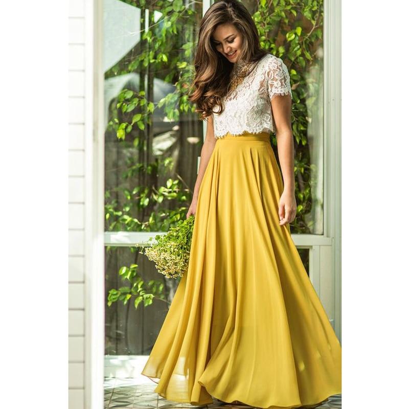 Jupes longues de plage jaunes élégantes femmes fermeture éclair taille-parole longueur Maxi jupe pour dames 2018 jupes de bal en mousseline de soie sur mesure