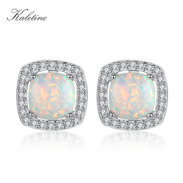 Kaletine Solid 925 Sterling Silver Earrings For Women Square Synthetic Opal Jewelry Stud Fashion Gift Klte045 In From
