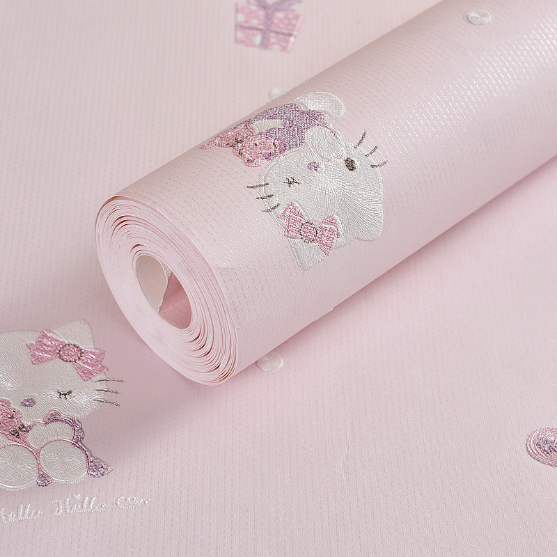 Cartoon 3D Hello Kitty Beige Blue Pink Yellow Children's Bedroom Living Room Home Decor Wallpaper Roll image