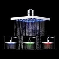 Ninth World 8 Inch Led Shower Head Temperature Sensor 3 Colors Changing Bathroom Showerhead