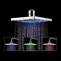 Ninth World 8 Inch Led Shower Head Temperature Sensor 3 Colors Changing Bathroom Showerhead