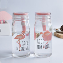 Fashion Cartoon Travel Water Bottle Flamingos Portable Bottle Water Sport Transparent Glass Botella de agua GL70 flamingos