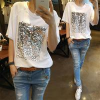Summer 2017 New Korean Version Of The Loose Large Size Cotton Sequins Bamboo Cotton White T