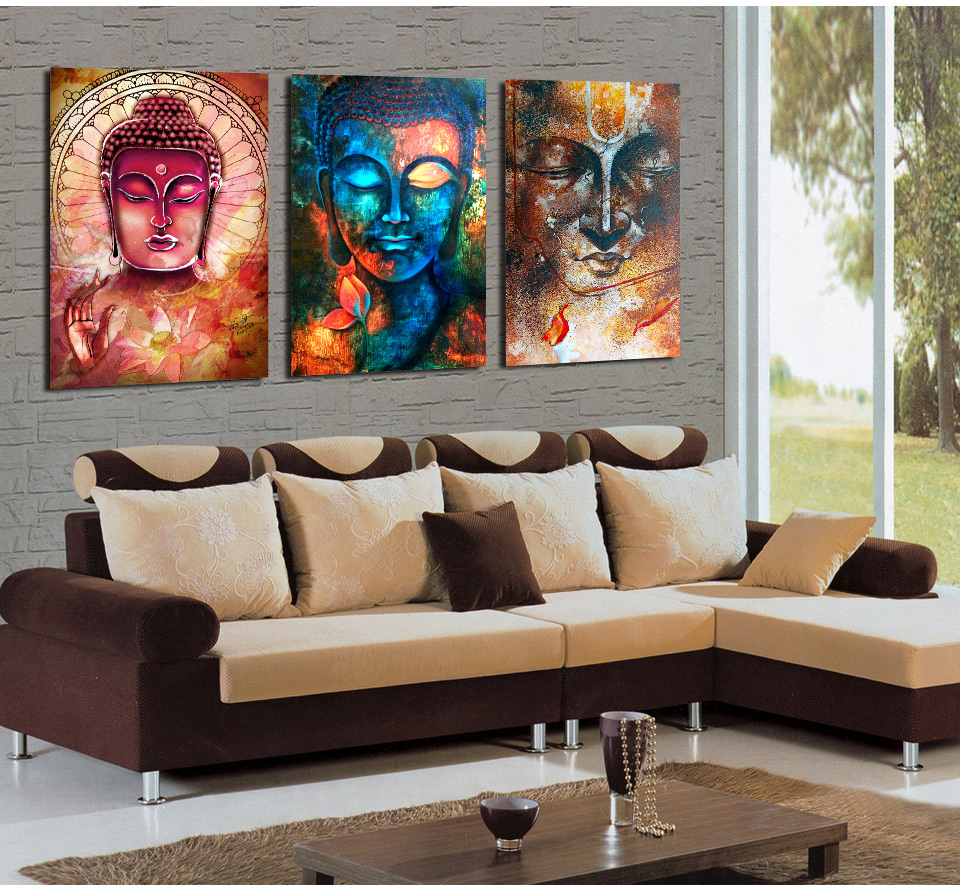 3 Pieces Buddha Image Portrait Art Painting Canvas Wall Art Picture Home  Decoration Living Room Canvas Print Modern Painting In Painting U0026  Calligraphy From ...