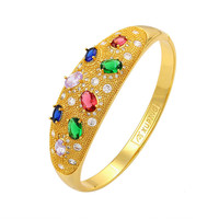 Retro Nation real yellow bling colorful zircon openable bangle exquisite bracelet for women party jewelry