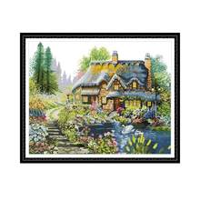 Joy Sunday Villa In The Forest 14Ct 11Ct Aida Fabric Stamped Cross Stitch Kits Cross Stitch DMC Embroidery Floss DIY Needlework(China)