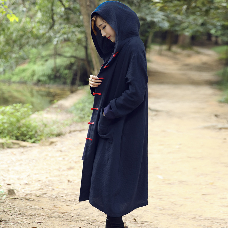 Ethnic Women Coats Jackets Winter Chinese National Style Plate Buttons Cotton Padded Jacket Hooded Long Thick