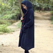 Этнические Женщины Пальто Куртки Зима Китайский Национальный Стиль Кнопки Пластины Хлопка Ватник С Капюшоном Длинный Толстый Рыхлый Пальто Куртка